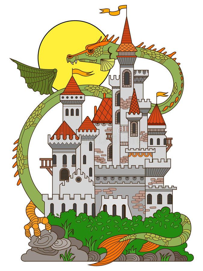 Castle and dragon cartoon vector illustration stock vector for Dragon and castle coloring pages