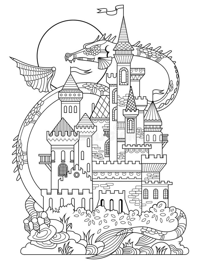 download castle and dragon coloring book vector stock vector image 79846239 - Dragon Coloring Book