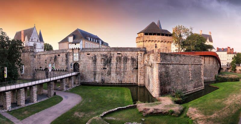 Castle Ducs de Bretagne with rainbow, Nantes - France.  royalty free stock photo