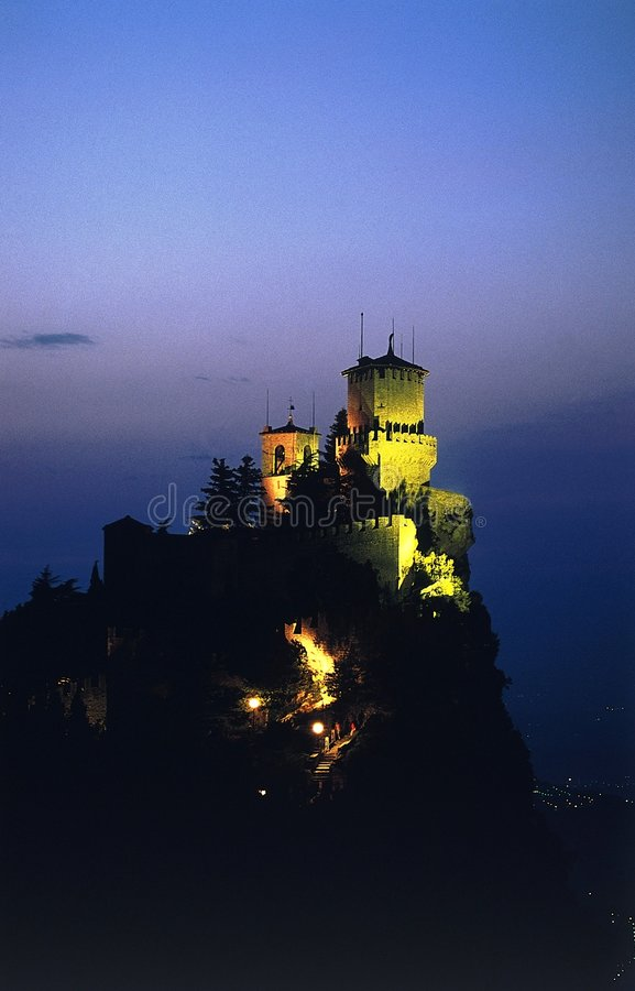 Castle at dusk royalty free stock photography