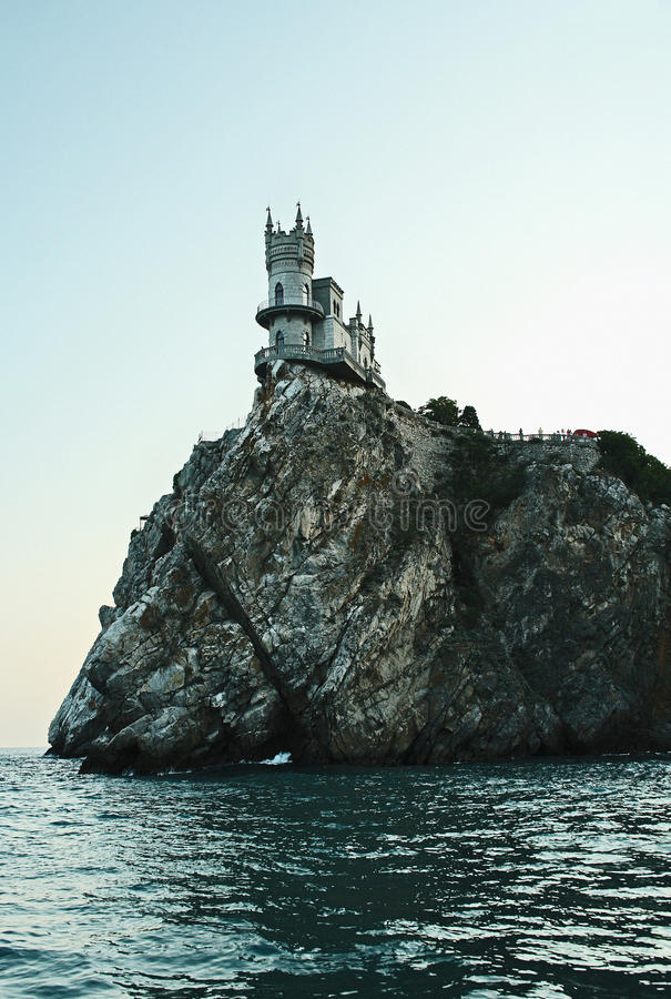 The castle on the edge of the cliff. The Swallow's Nest is a decorative castle located at Gaspra, a small spa town between Yalta and Alupka, on the disputed royalty free stock image