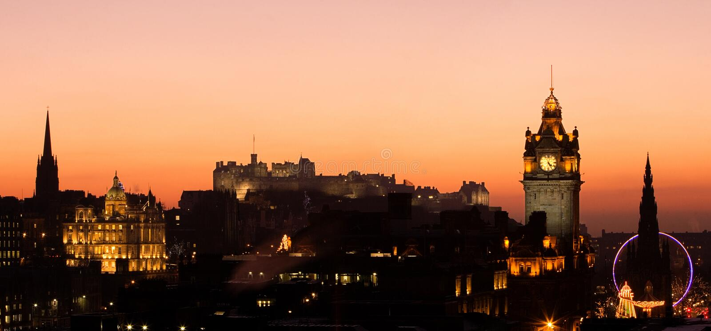 castle edinburgh sunset στοκ εικόνες με δικαίωμα ελεύθερης χρήσης