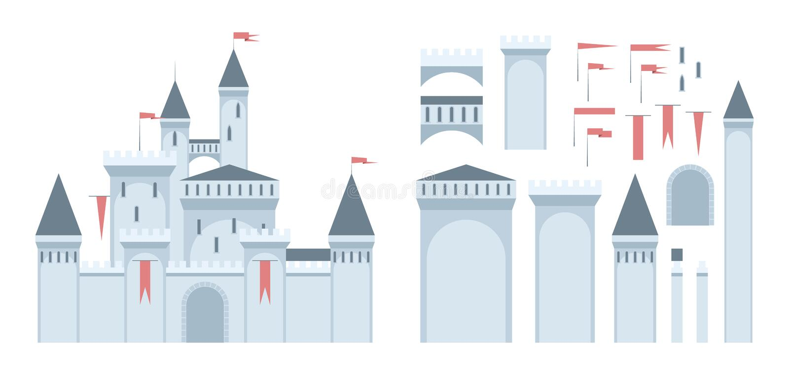 Castle. European medieval castle construction set. Sample castle shows what can be assembled from the given parts. EPS8 vector stock illustration
