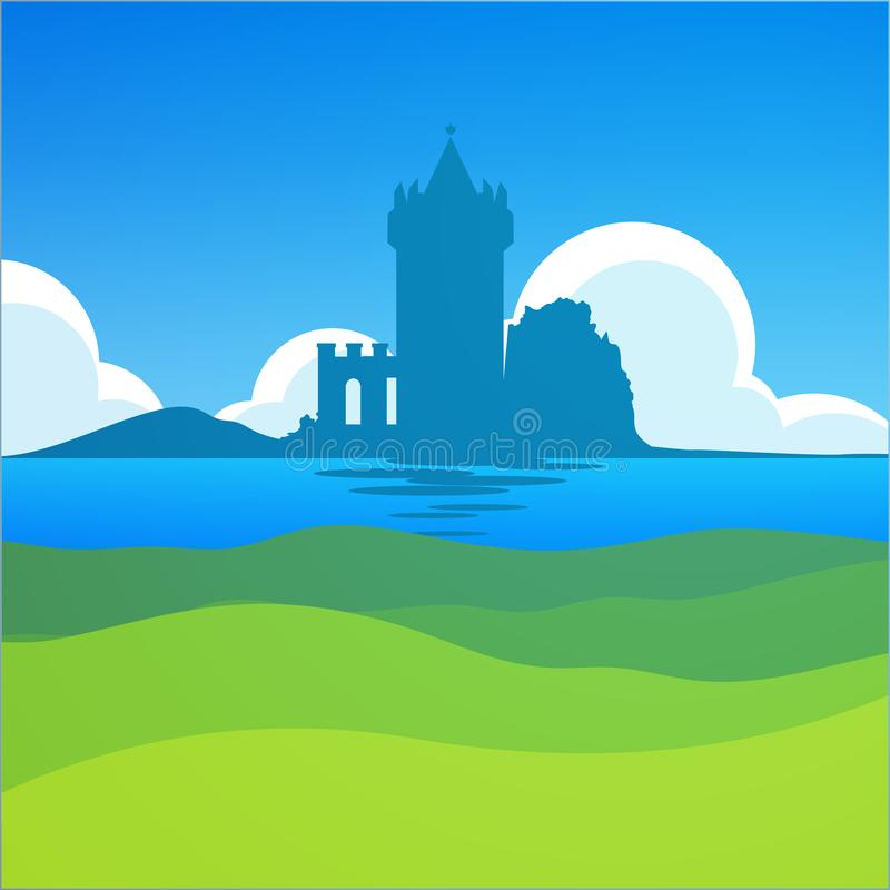 Castle in Falkirk, Scotland - European Scenic Daily Landscape with Medieval theme. Nature Landscape with Castle in Falkirk, Scotland. European Scenic Daily stock illustration