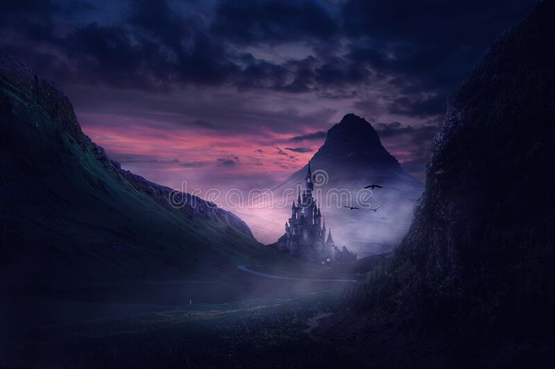 Castle in fantasy valley and mountain royalty free stock image