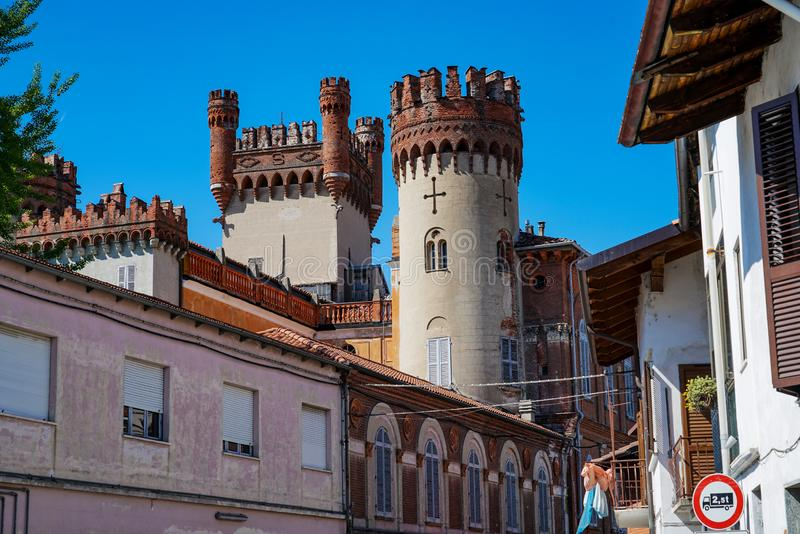 The castle of Favria. Fravia Piedmont Italy The castle of Favria, rebuilt by the Solaros of Govone, looks like an elegant building with an adjacent garden and royalty free stock photography