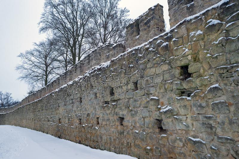 Castle fortification walls and fortress towers of Gothic Helfenburg state keep stock photo