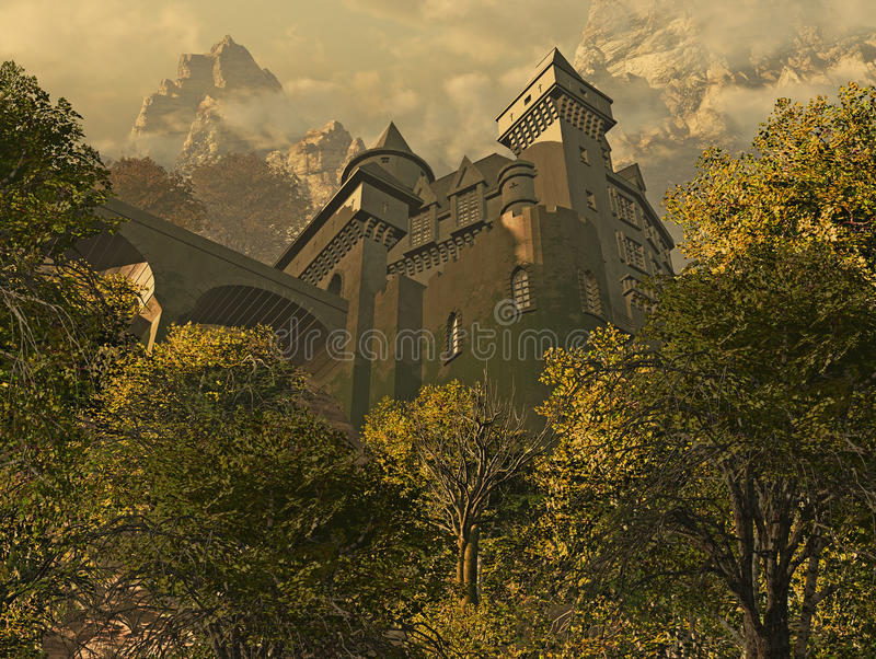 Castle Fortress. In the woods looking up at a castle fortress royalty free illustration