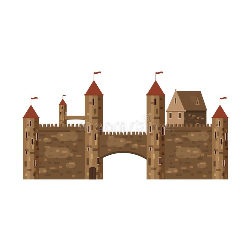 Castle, fortress, ancient, architecture middle ages Europe, Medieval palace with high towers and conical roofs, vector. Castle, fortress architecture middle ages vector illustration