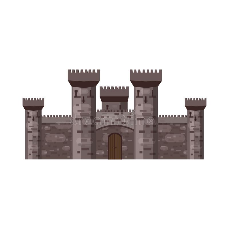 Castle, fortress, ancient, architecture middle ages Europe, Medieval palace with high towers, vector, banners, isolated. Castle, fortress architecture middle vector illustration