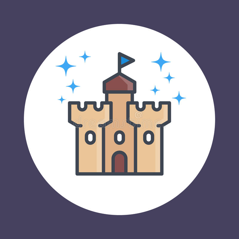 Castle, fortress icon in linear style stock illustration