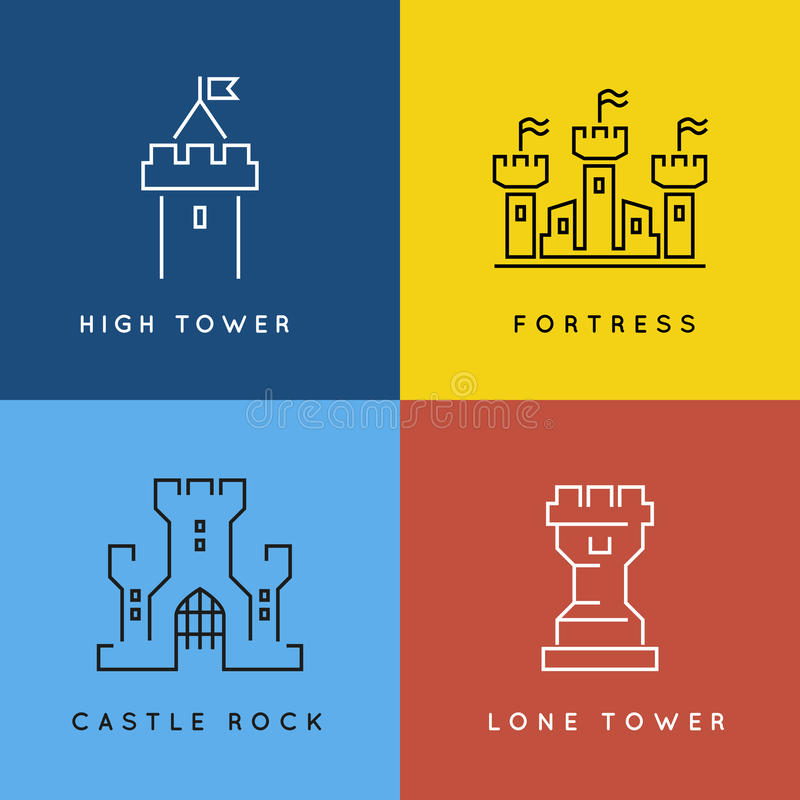Castle and fortress line style or outlined vector. Logo set. Tower architecture building, medieval old symbol fort or palace illustration royalty free illustration