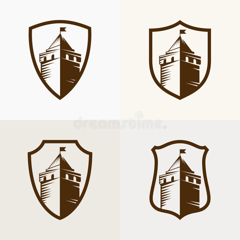 Castle fortress on shield, vector icon illustration.  royalty free illustration
