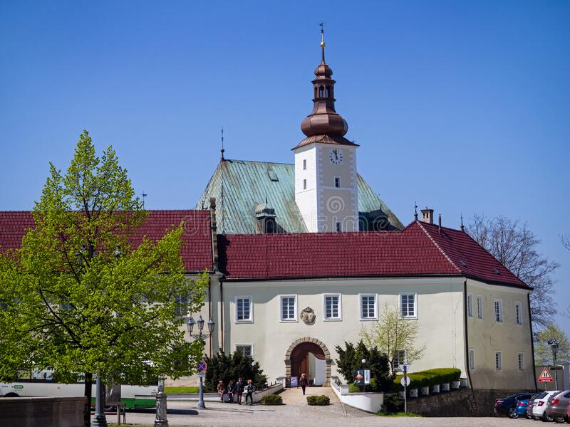 Castle in Frydek-Mistek. Czech Republic. FRYDEK MISTEK, CZECH REPUBLIC – MAY 01, 2017: Frydecki Castle, serves as The Museum Beskyd Frýdek-Místek, a royalty free stock image