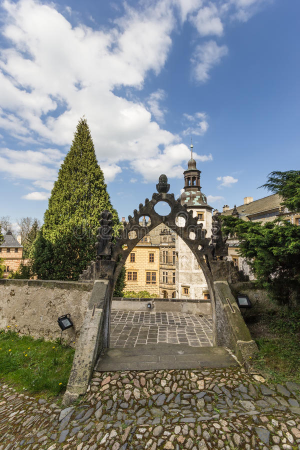 Castle Frydlant. The courtyard of the castle Frydlant in the Czech Republic, Europe stock image