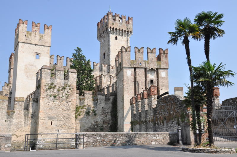 Castle on Garda Lake in Sirmione. Italy royalty free stock photography