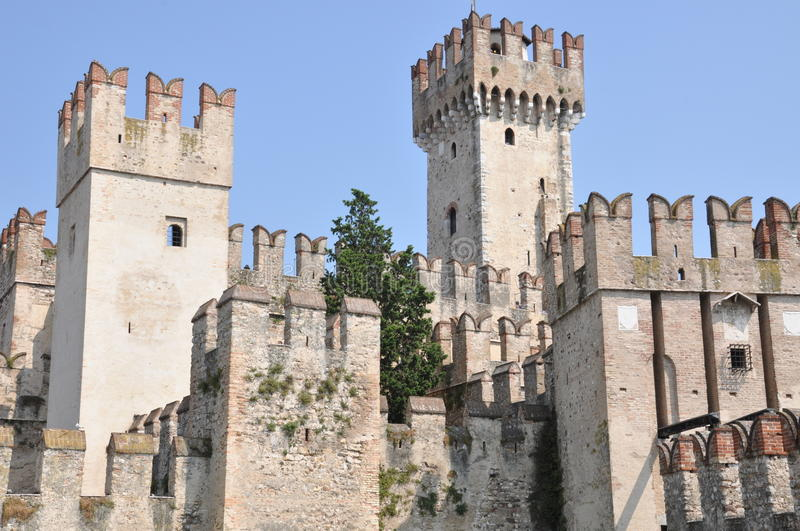 Castle on Garda Lake in Sirmione. Italy royalty free stock image