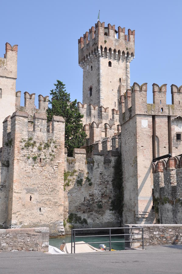 Castle on garda Lake in Sirmione. Italy royalty free stock photo