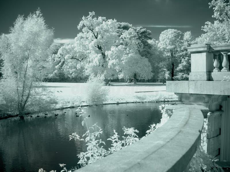 Castle garden stock image