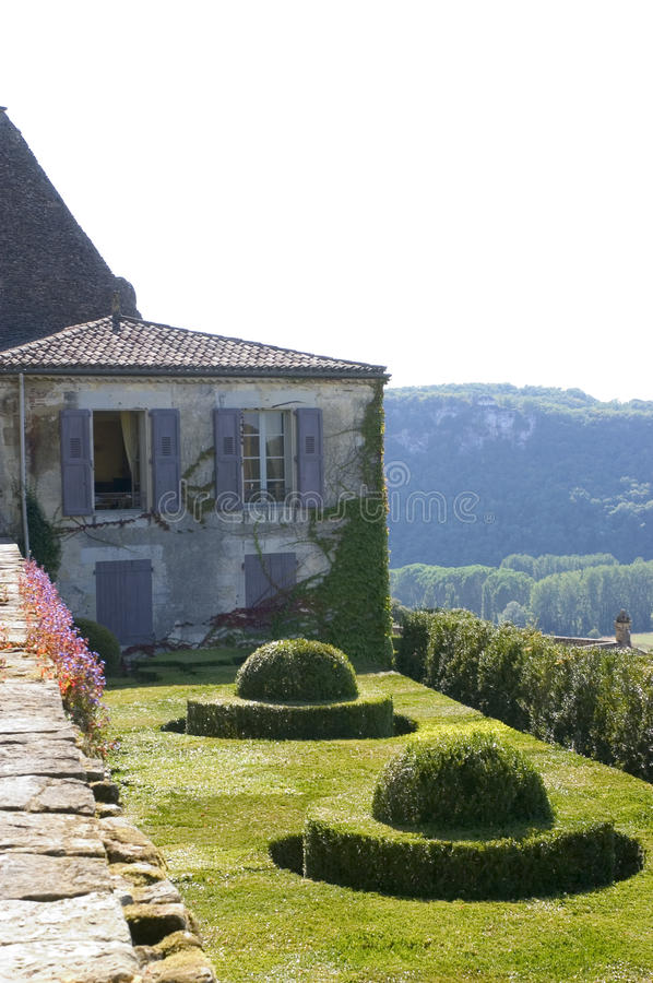 Castle and gardens of Marqueyssac. The gardens have the characteristic to be suspended royalty free stock photo