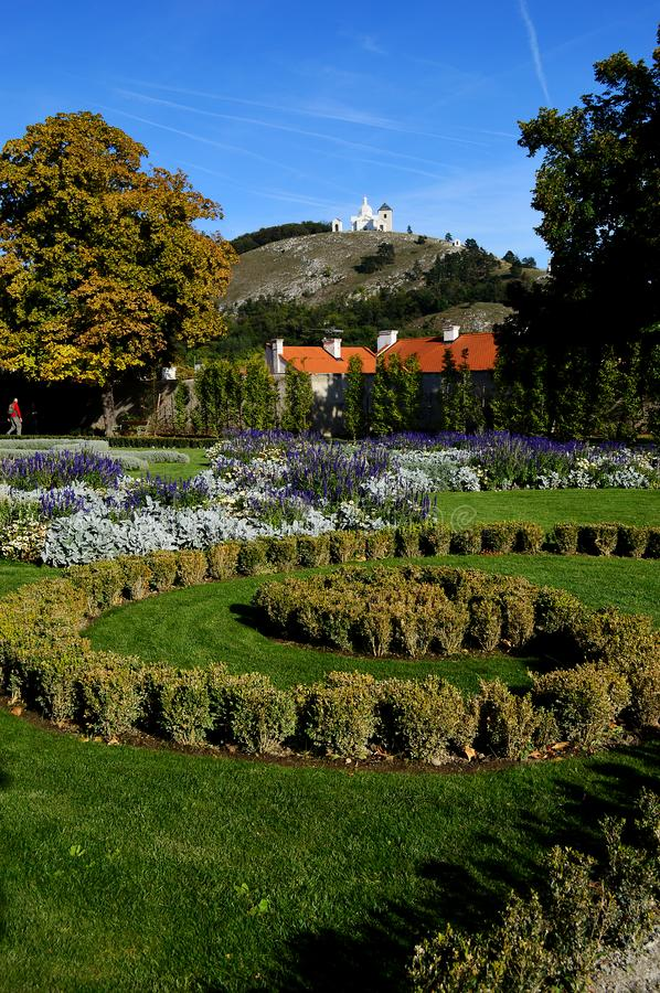 The castle gardens and view to Holy Hill Mikulov town Czech republic stock photos