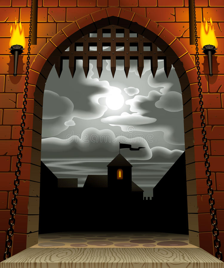 Castle gate. Raster version of vector image of the medieval castle gate with a drawbridge and torches against the night sky with the moon and clouds. There is in royalty free illustration