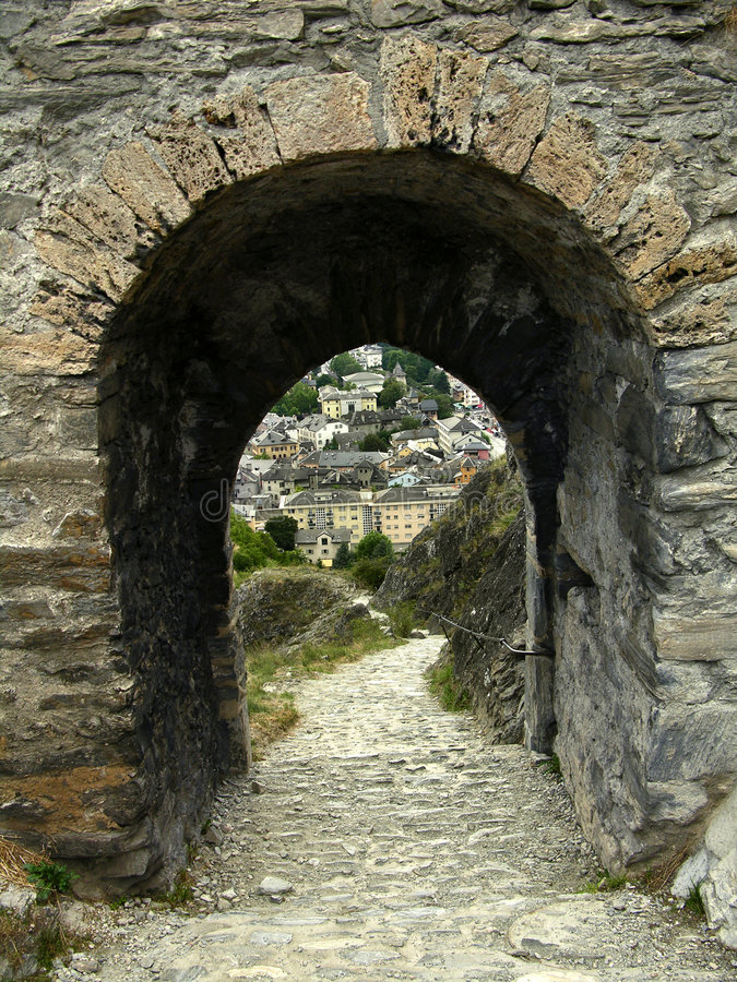 Castle gate in Sion (Switzerland) royalty free stock photo