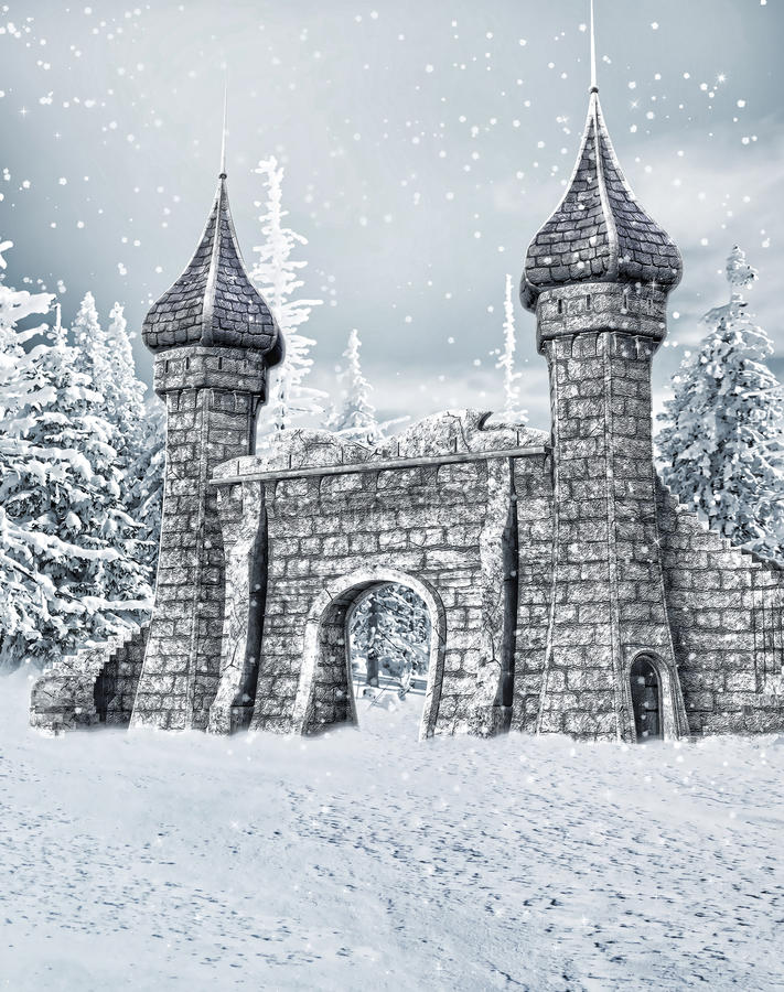 Castle gate with snow stock illustration