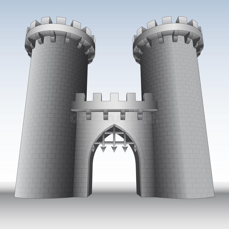 Free Castle Gate With Two Towers And Sky Royalty Free Stock Images - 33409889