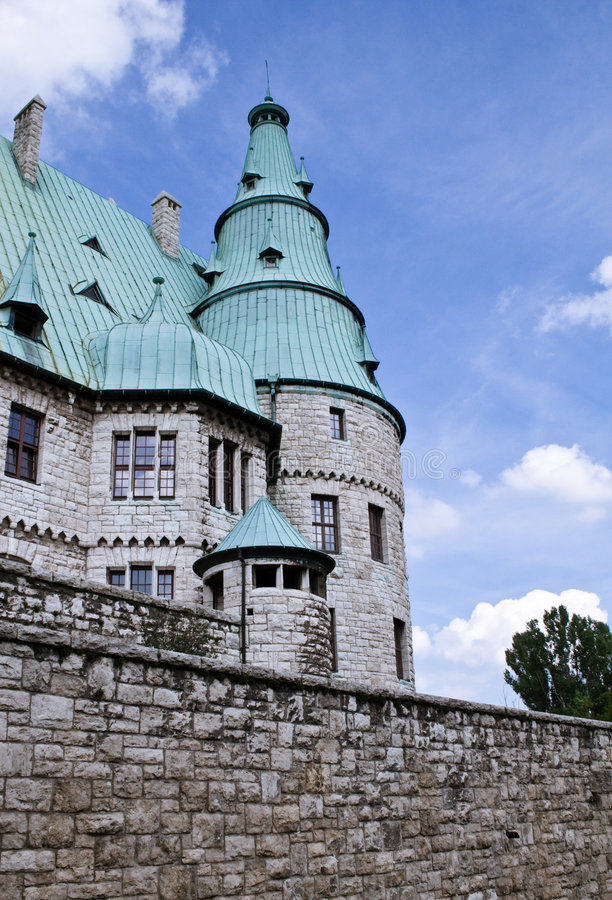 Castle in germany. With a bick wall and cupreous roof stock image
