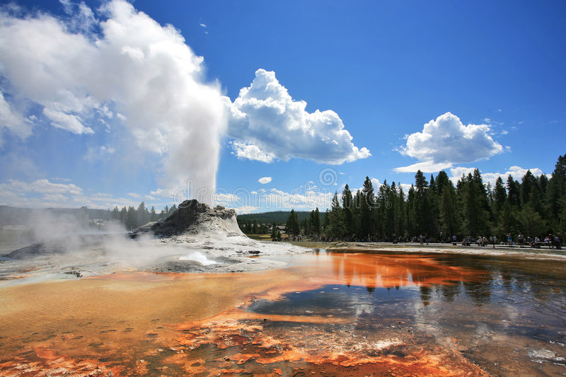 Castle geyser. At old faithful region, yellowstone royalty free stock images