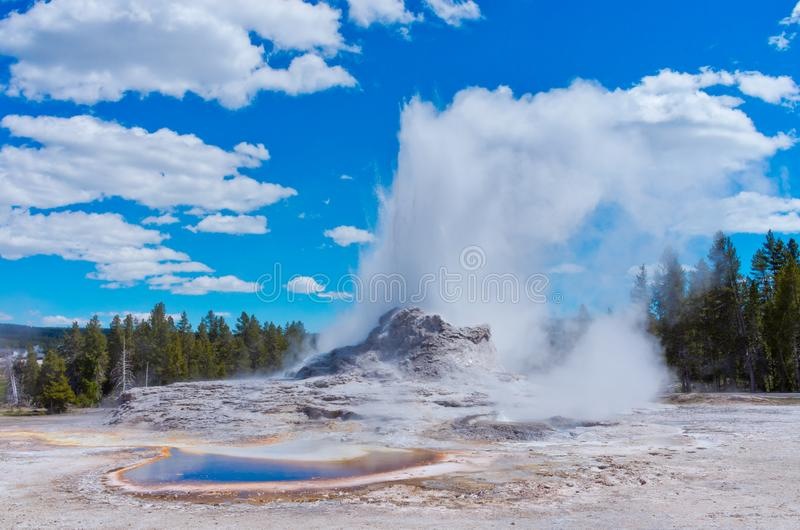 Castle Geyser in Yellowstone National park, USA. Castle Geyser in Yellowstone National park, Wyoming, USA royalty free stock photo