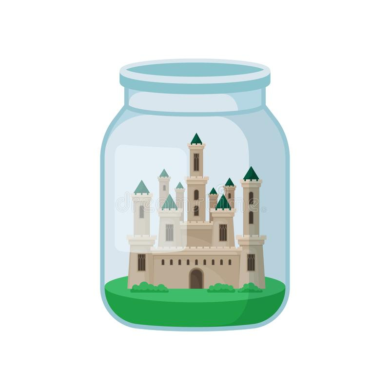 Castle in glass jar on white background. stock illustration