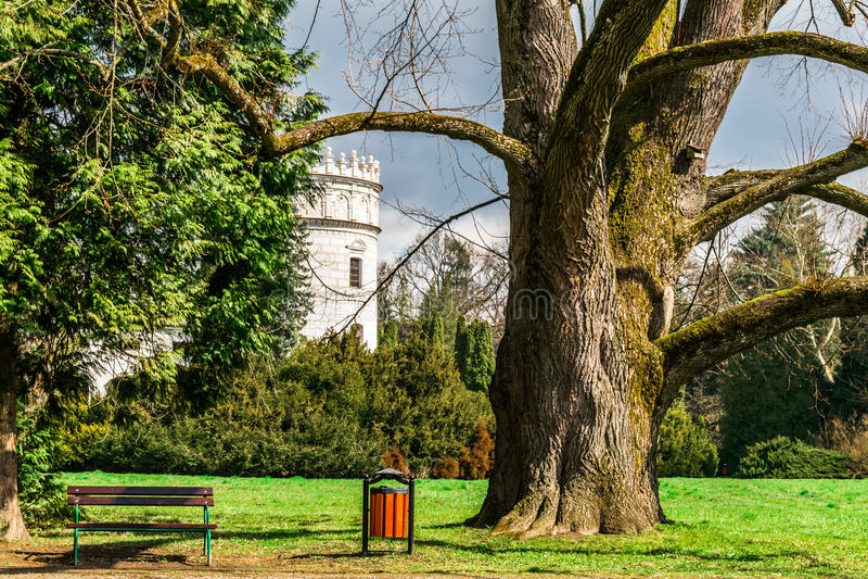 Castle in the green garden park stock image