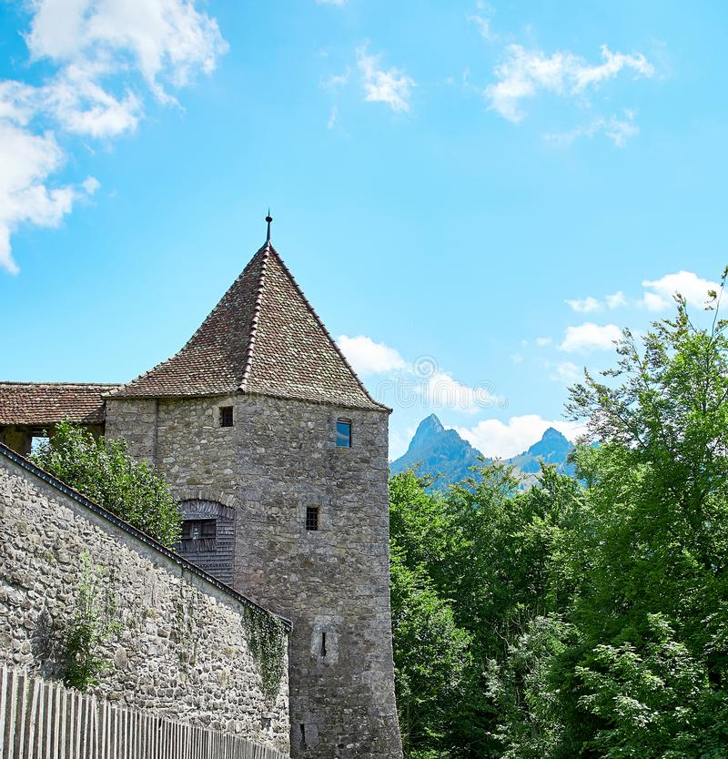 Castle of Gruyere. View of medieval Gruyeres Castle in Old Town Gruyere stock image
