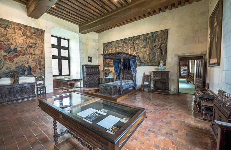 In the castle halls. In the rooms of Chaumont castle. Loire valley, France stock photo