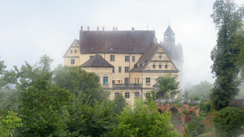 Castle of Heiligenberg in mist, Linzgau, Germany. This Renaissance castle is a landmark of Baden-Wurttemberg royalty free stock photos