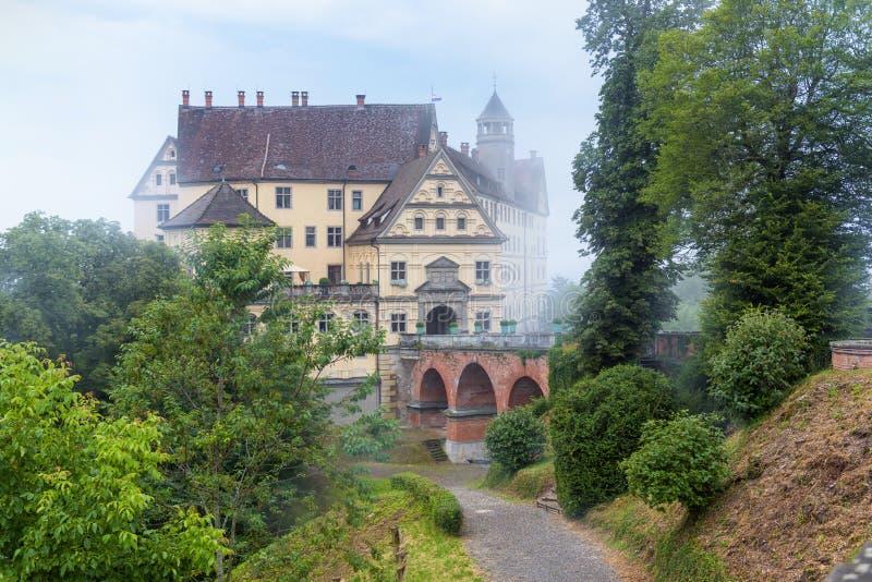 Castle of Heiligenberg in mist, Linzgau, Germany. This Renaissance castle is a landmark of Baden-Wurttemberg stock photography