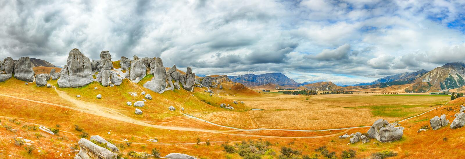 The Castle Hill. Southern Alps. Arthurs Pass. New Zealand stock photo