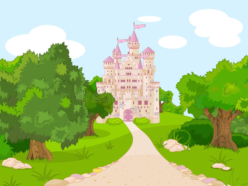Download Castle on hill stock vector. Image of road, cartoon, remote - 26817881