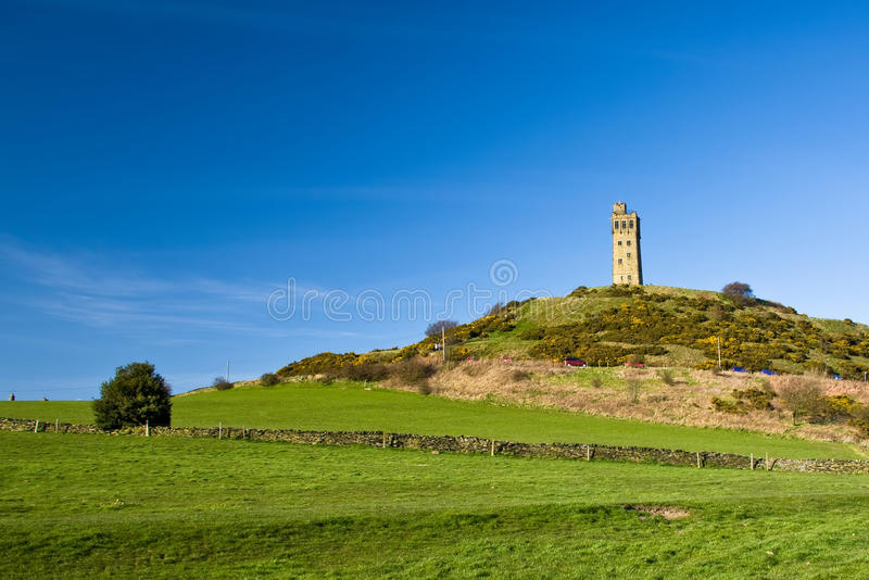 Castle Hill. With old Victorian wathing tower near Huddersfield, West Yorkshire, United Kingdom royalty free stock images