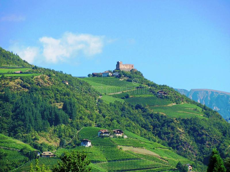 Castle on the hill in Bolzano, Italy stock photo