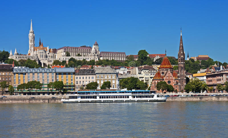 Castle Hill, Budapest. Castle Hill with the Matthias Church, the Fisherman's Bastion, and the Danube River, Budapest, Hungary stock image