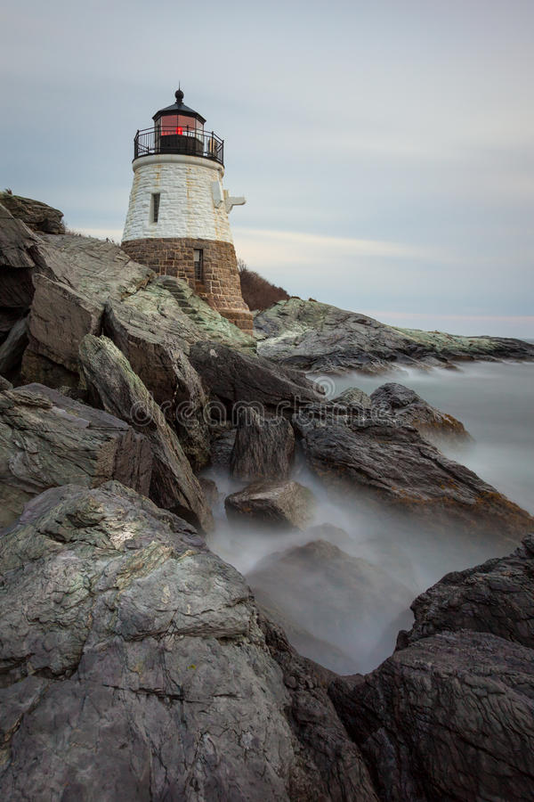 Castle Hill Lighthouse at Sunset stock photo