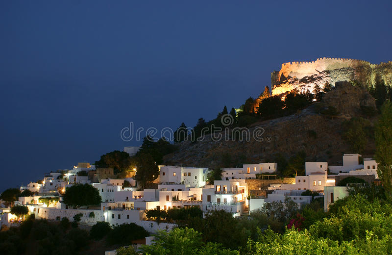 Castle  On The Hill By Night Stock Images