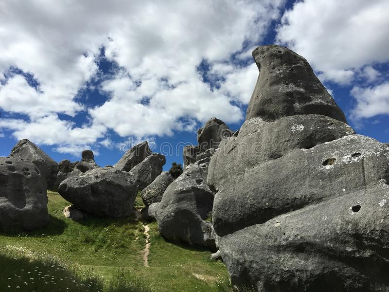 Castle Hill rocks against a dramatic skyline stock images