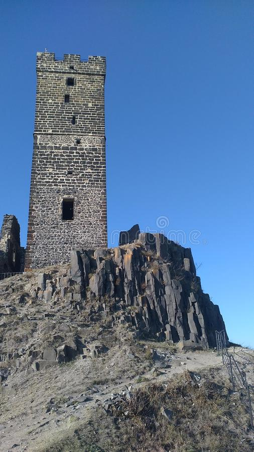 Castle on the hill, Ruin of Hazmburk in Czech republic royalty free stock photo