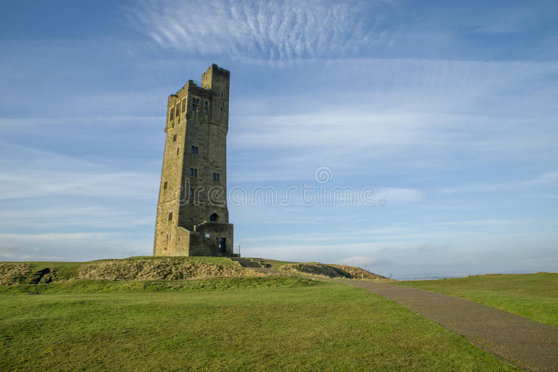 Castle Hill, Victoria Tower, Huddersfield. Castle Hill Tower in Huddersfield. Built as a memorial to Queen Victoria on the site of an ancient iron age fort royalty free stock images