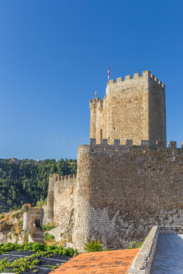Castle on the hilltop of Alcala del Jucar. Spain stock images