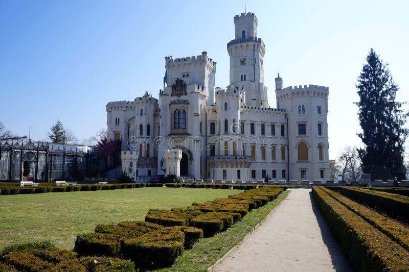 The castle in Hluboká nad Vltavou. Look down from The castle in Hluboká nad Vltavou in spring stock photos